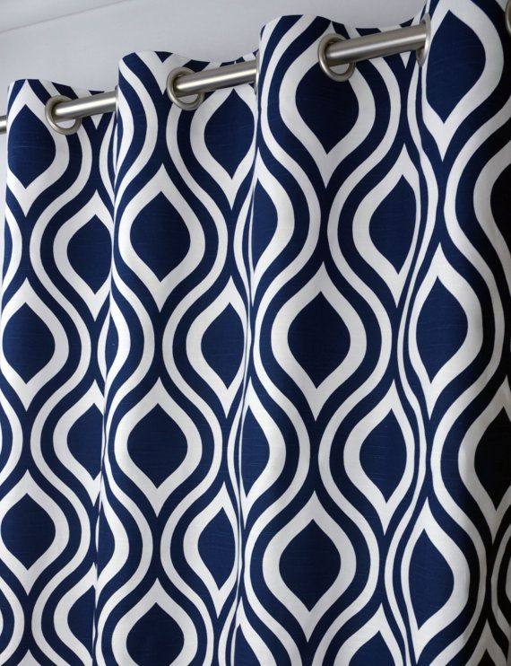 Pair Of Grommet Top Curtains In Navy Blue And White By Zeldabelle