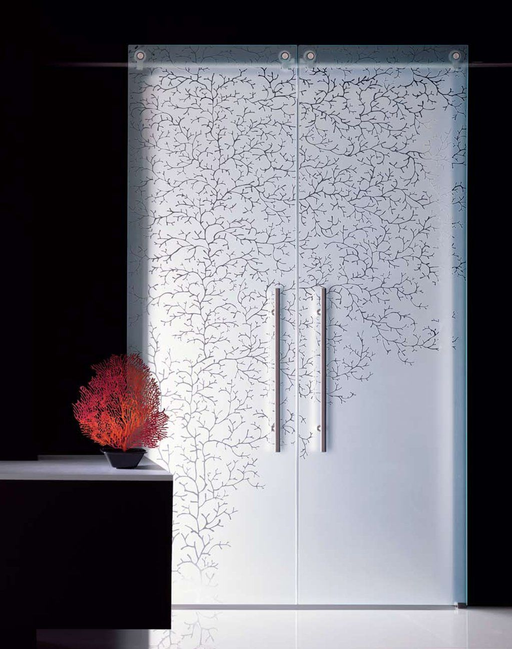 Great for the pantry coral etched glass sliding doors for Sliding glass door styles