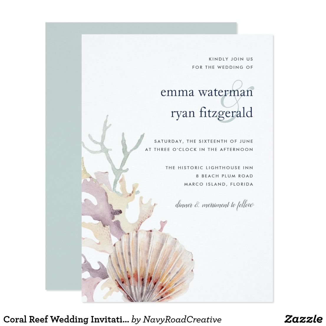 Coral Reef Wedding Invitation   Coral reefs, Invites wedding and ...