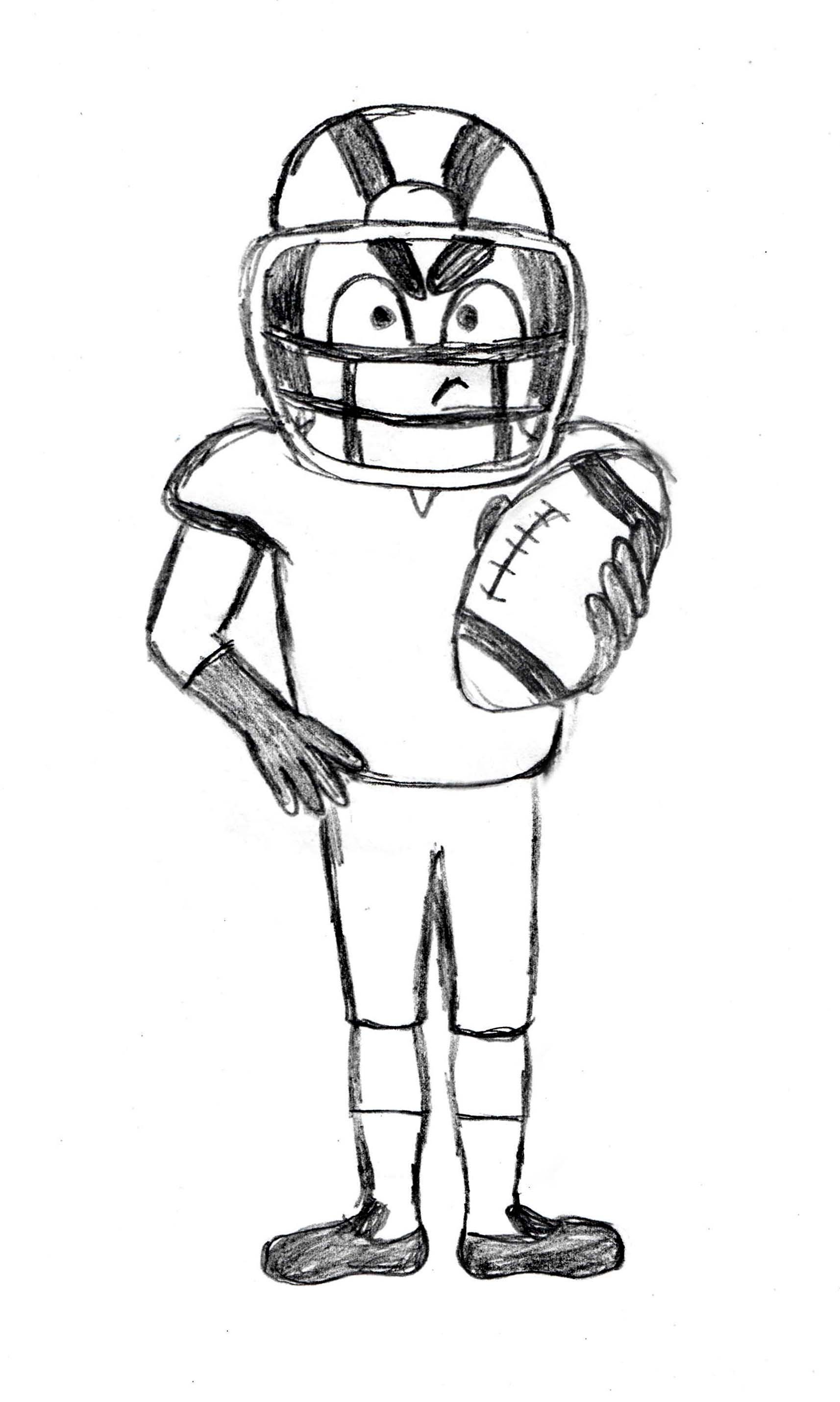 Football Drawing Easy : football, drawing, American, Football, Player, Sketch, Http://drawingmanuals.com/manual/football, -player-drawing-tut…, Drawing,, Players