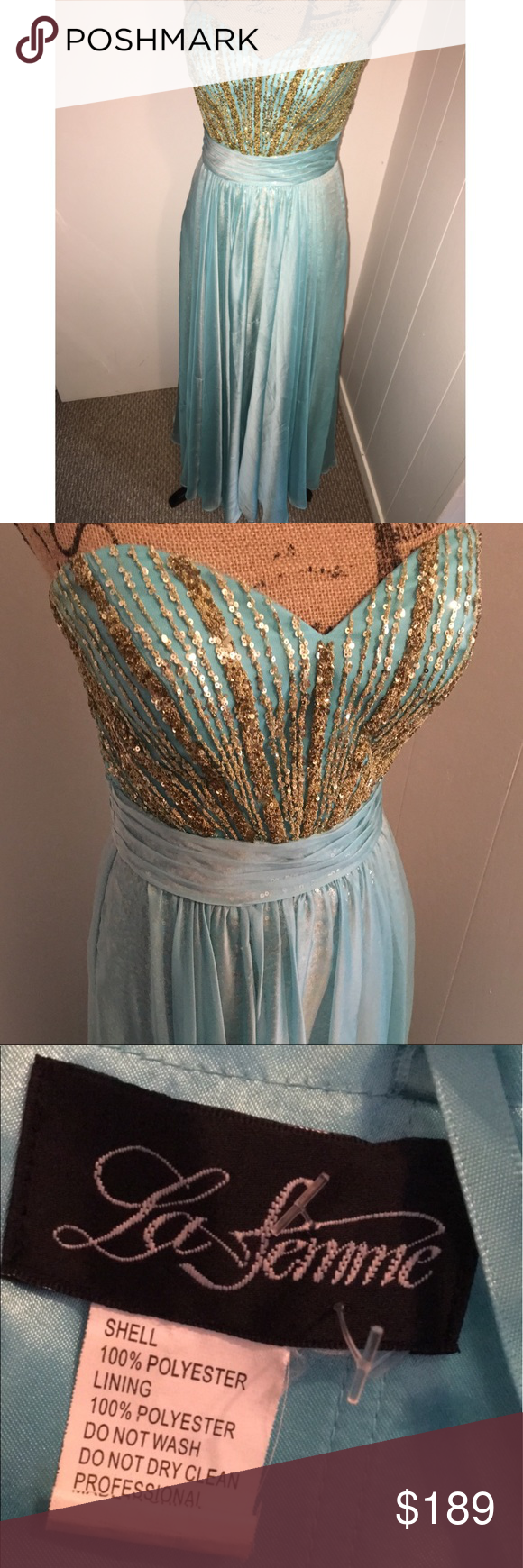 Princess Jasmine inspired dress This BEAUTIFUL dress was from the La Femme Disney collection as inspired by princess Jasmine! It is a light teal/blue color with a gold sequin layer underneath & gold jewels along the bust! La Femme Dresses Prom
