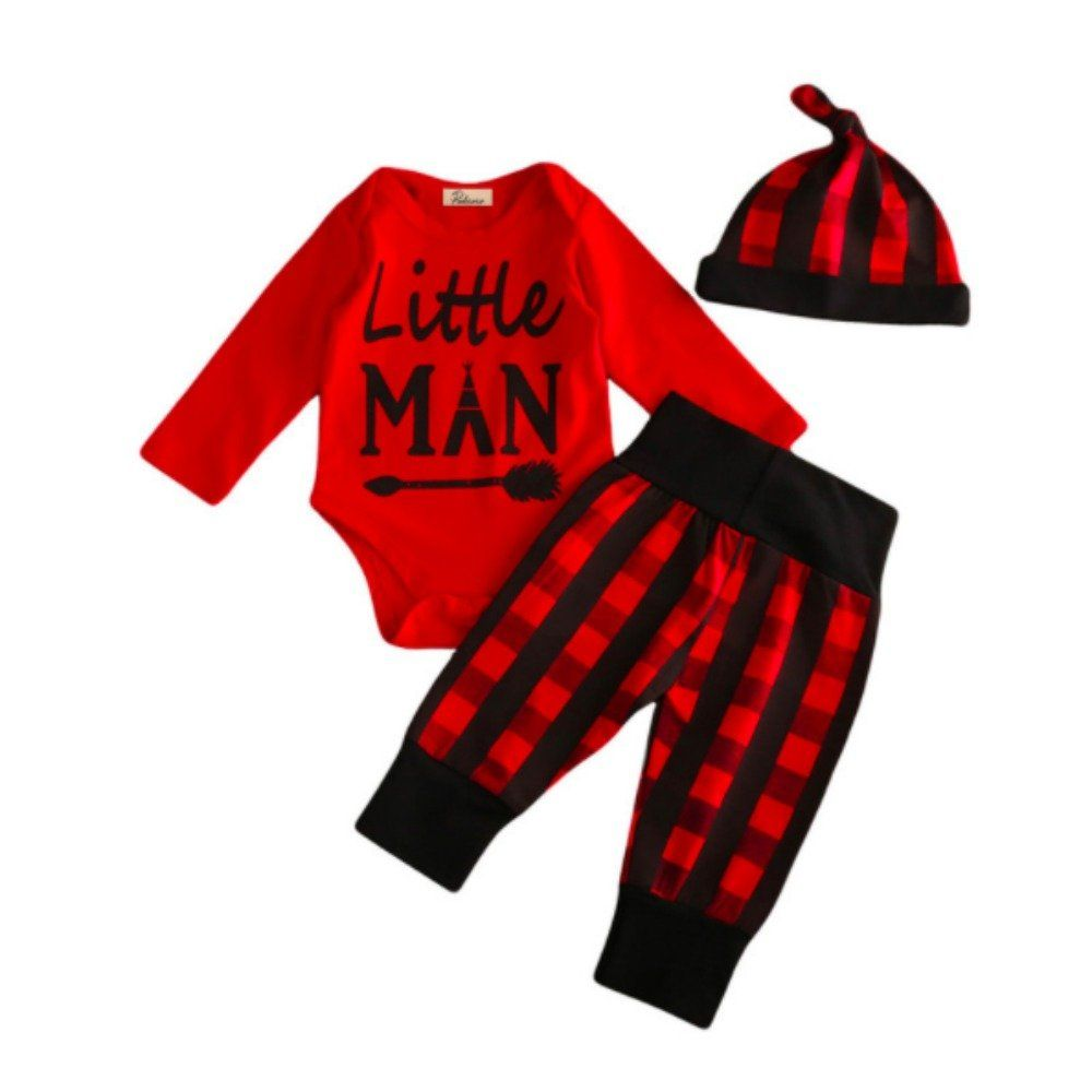 bb43daad5fa5e Copper Robin Buffalo Plaid Onesie Pants and Hat Set for Boys 03 months --  Details can be found by clicking on the image.-It is an affiliate link to  Amazon.
