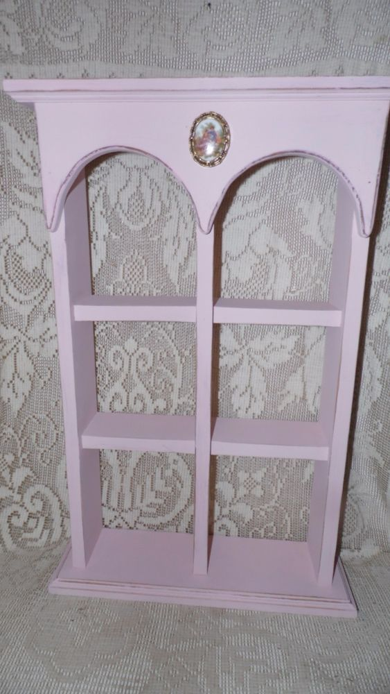 Shabby Chic Wood Pink Wall Shelf Porcelain Courting Couple