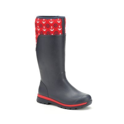 Muck Boot Women's Cambridge Tall 15 in. Rain Boot in black and red anchor print -- lining keeps feet dry and cool