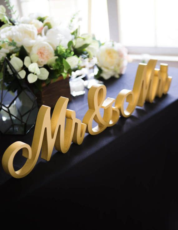 Script Mr and Mrs Wedding Signs for Wedding Sweetheart