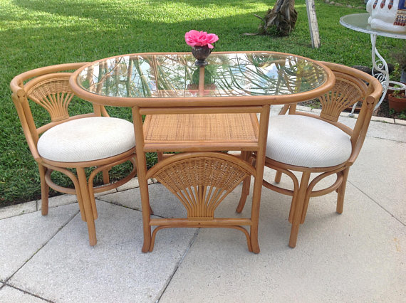 rattan table and chairs office com vintage dinette set oval with 2 compact dining small bamboo retro daisy girl