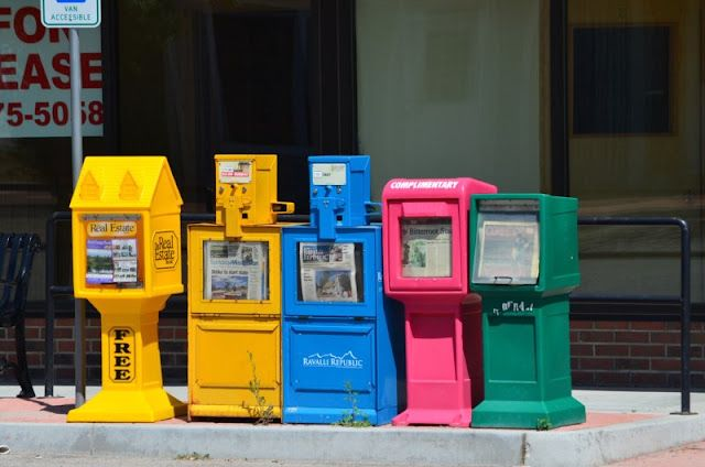Might be a good shape lesson to paint/draw things like these news stands, fire hydrants, mail boxes, etc.