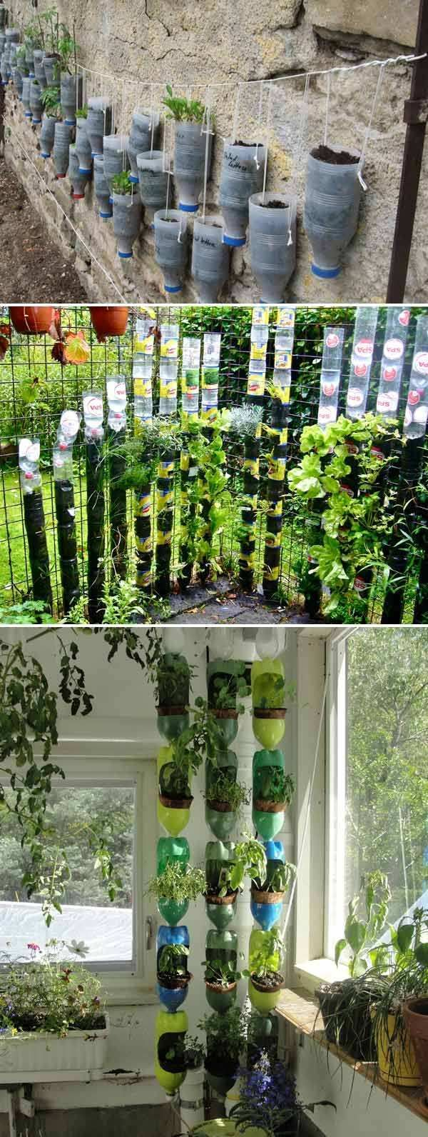 29+ Clever Plastic Bottle Vertical Garden Ideas - FarmFoodFamily,  #BOTTLE #Clever #creativeg... #verticalgarden