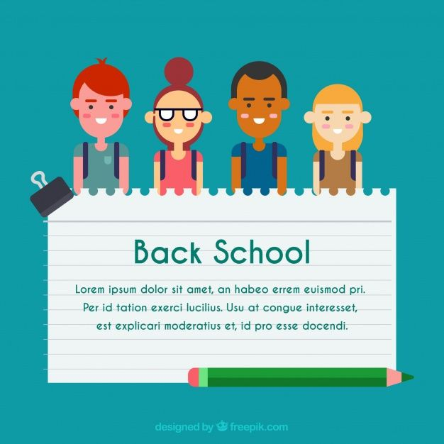 Young Students Notebook Paper And Pencil Free Vector School
