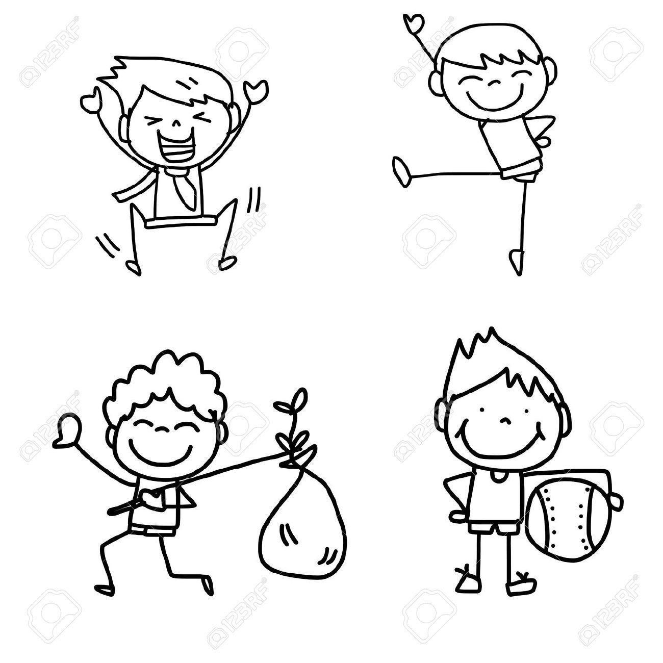 hand drawing cartoon happy kids playing royalty free cliparts