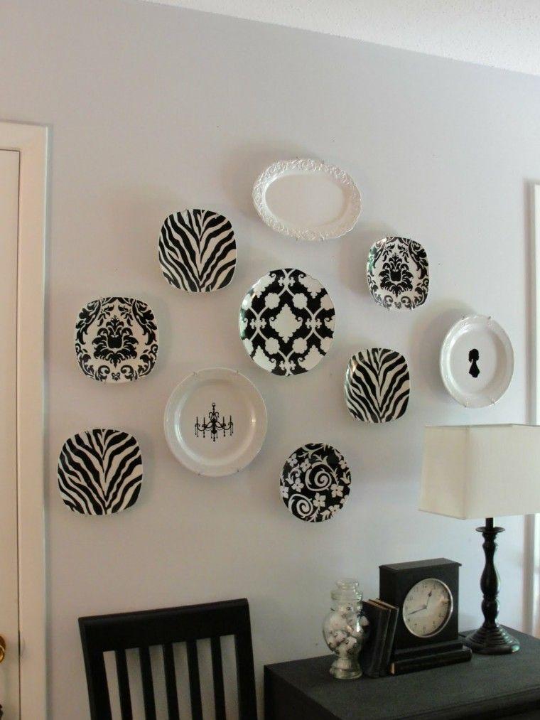 decorar pared platos blanco negro - Decorar Paredes