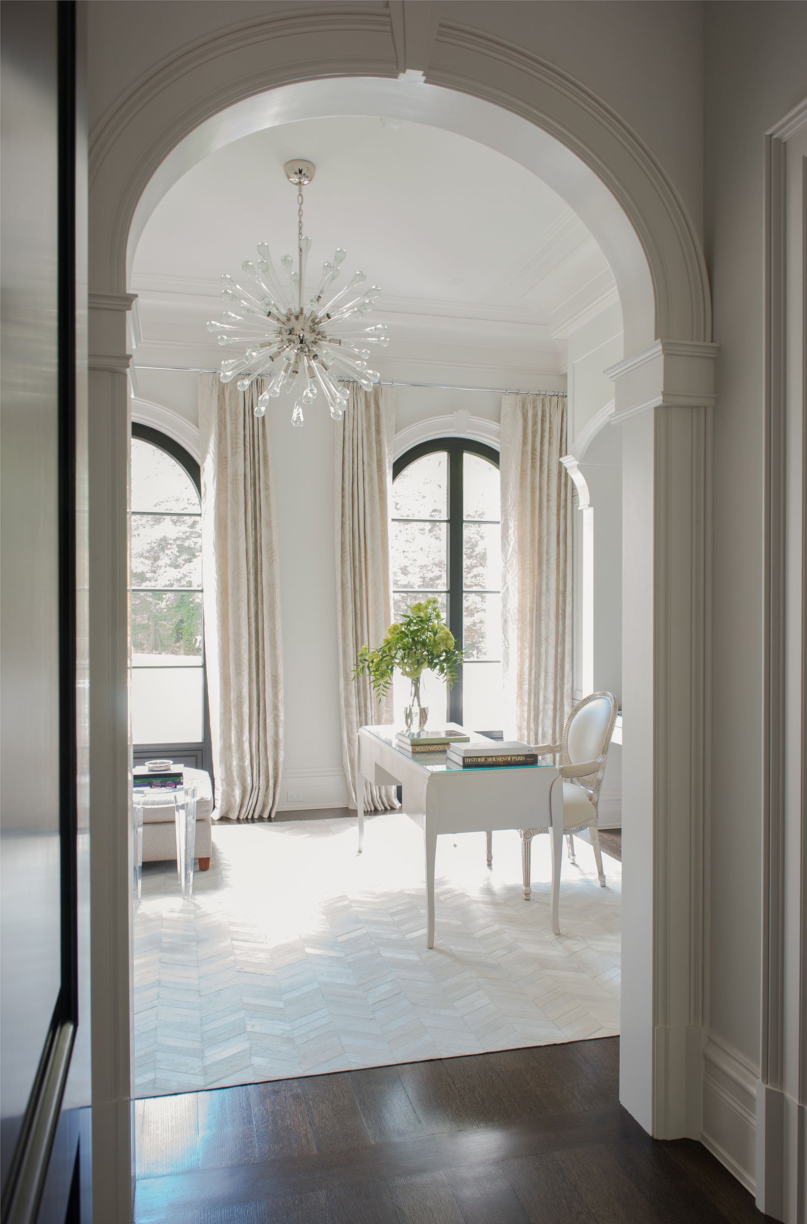 Arched Cased Opening To Sun Room Office Georgian Style Homes