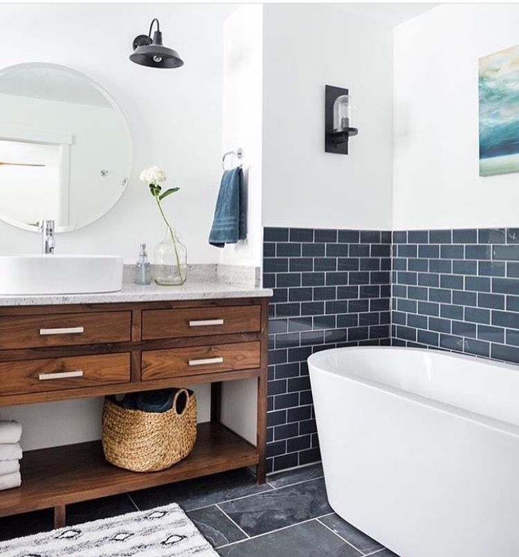 Dark Tile Master Bathroom: Pin By Kelly LaPlante On Home Is Where The Heart Is