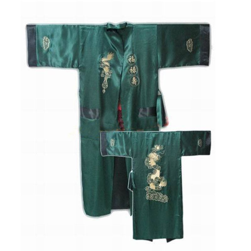 c6617140cf Green Black Reversible Chinese Men s Embroidery Kimono Satin Silk Two-face  Robe Bath Gown Dragon One Size S3002