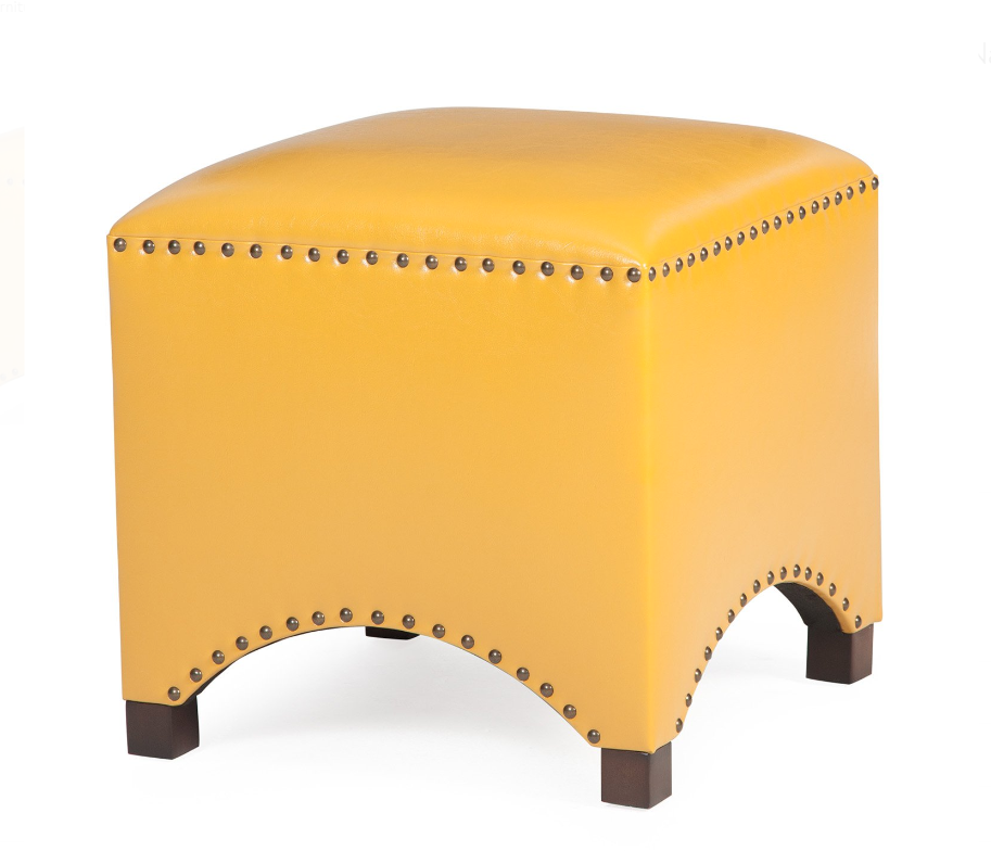 Astounding Yellow Bonded Leather Ottoman Hassock Footstool Arched Cube Machost Co Dining Chair Design Ideas Machostcouk