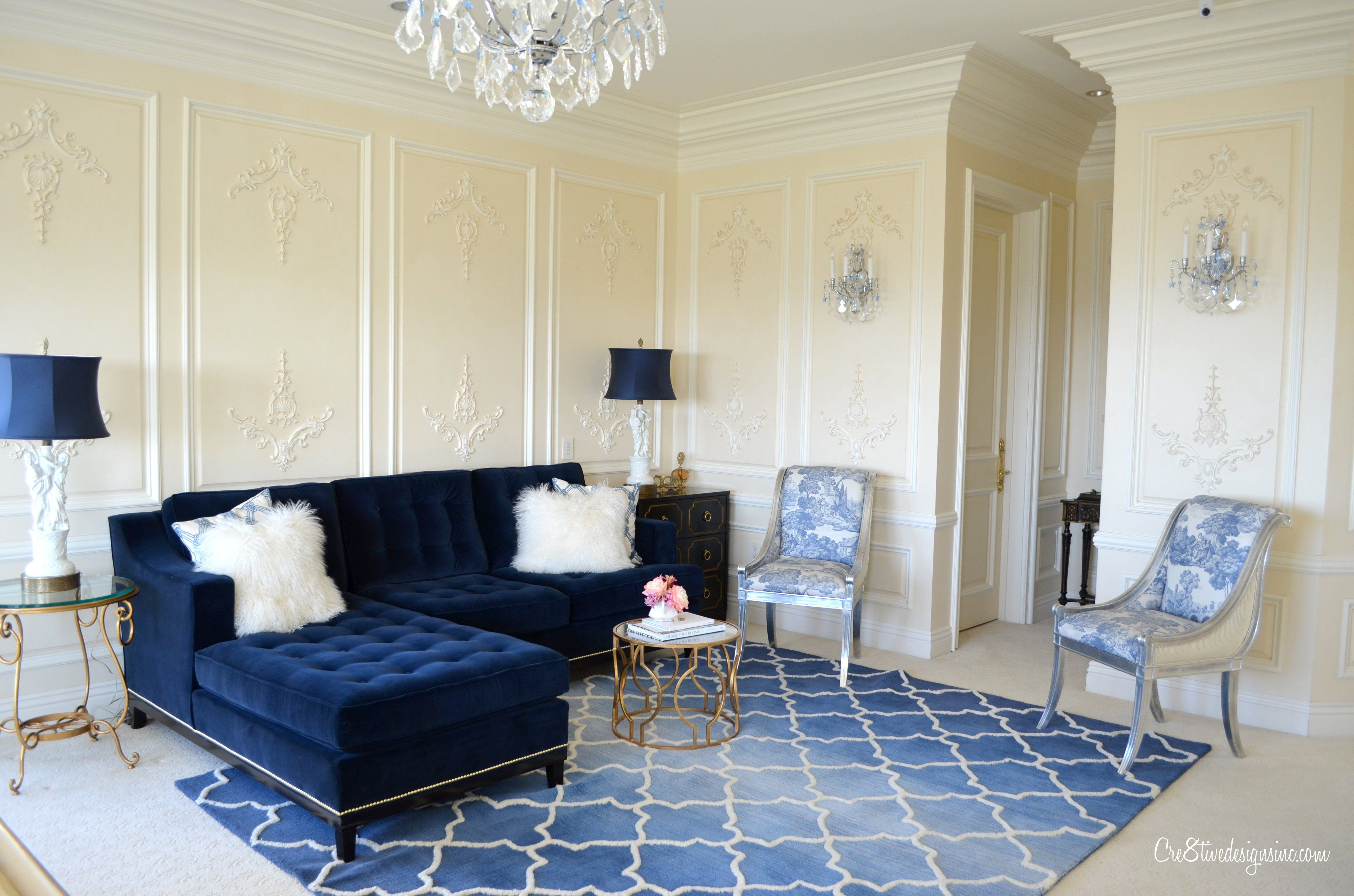 Image result for pale blue living room, dark blue and orange accents ...