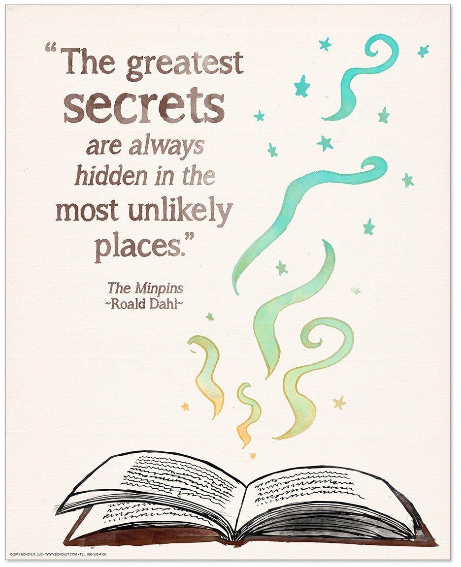 Roald Dahl Greatest Secrets Children's Literary Quote Print. Fine Art Paper, Laminated or Framed. Multiple Sizes