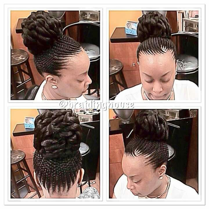 Feeding Cornrows Into A Bun Hairstyles Galore Pinterest