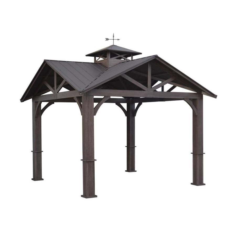 Allen Roth Wood Looking Hand Paint Metal Square Semi Permanent Gazebo Exterior 12 Ft X 12 Ft Foundation 10 56 Ft X 10 56 Ft Lowes Com Backyard Pavilion Permanent Gazebo Gazebo