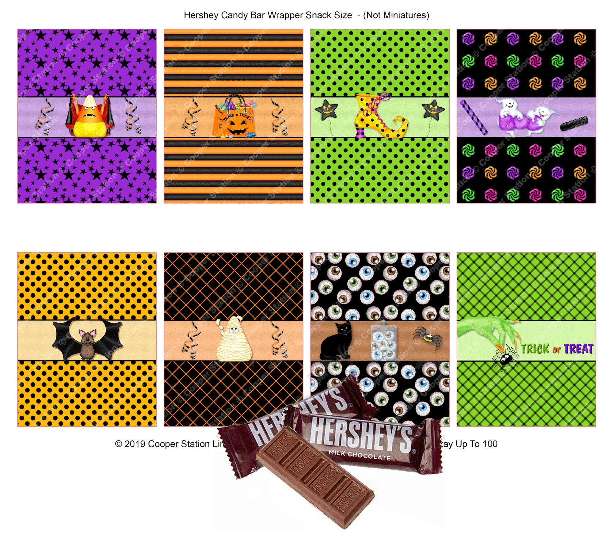 Digital Printable Halloween Hershey Snack Size Candy Bar