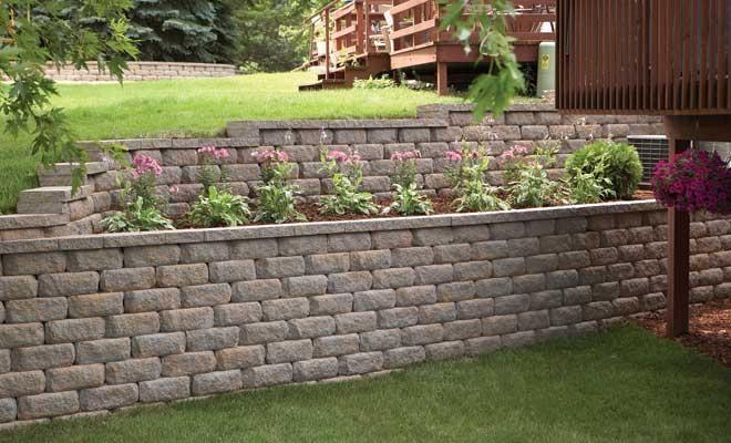 Retaining Wall Designs With Square Block Diamond Stone Straight