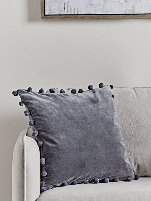 New Velvet Pom Pom Cushion Dark Grey Soft Furnishings Pompom Cushion Cushions Uk Luxury Cushions
