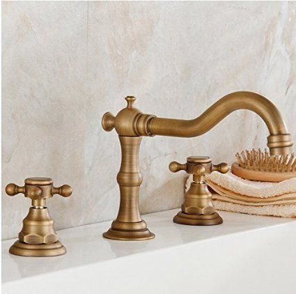 Beelee Deck Mounted Three Holes Double Handles Widespread Bathroom Sink Faucet Antique Brass Finished Antique Brass Faucet Sink Faucets Brass Bathroom Faucets