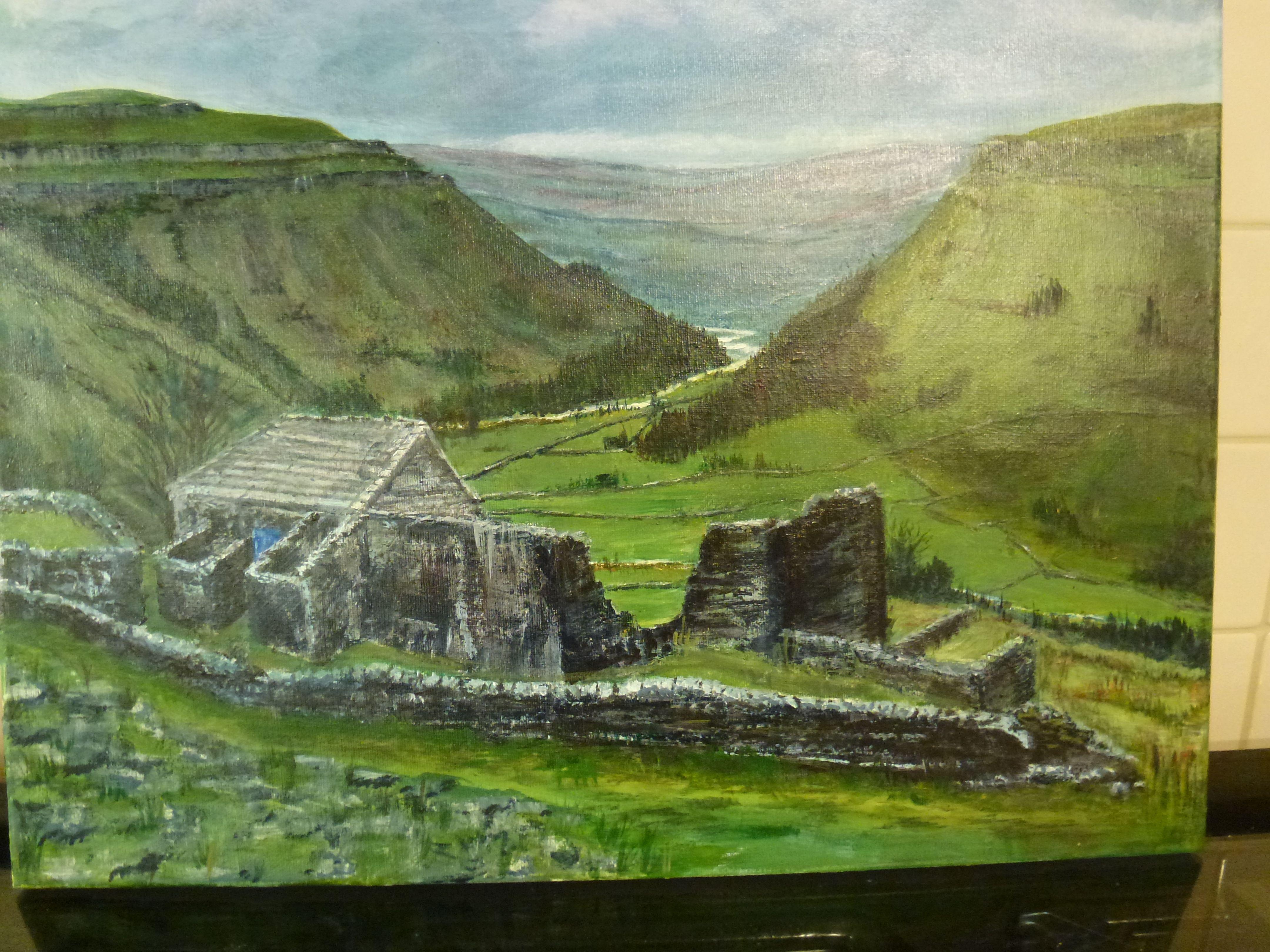 Crackpot Hall ruins,Swaledale. Acrylic