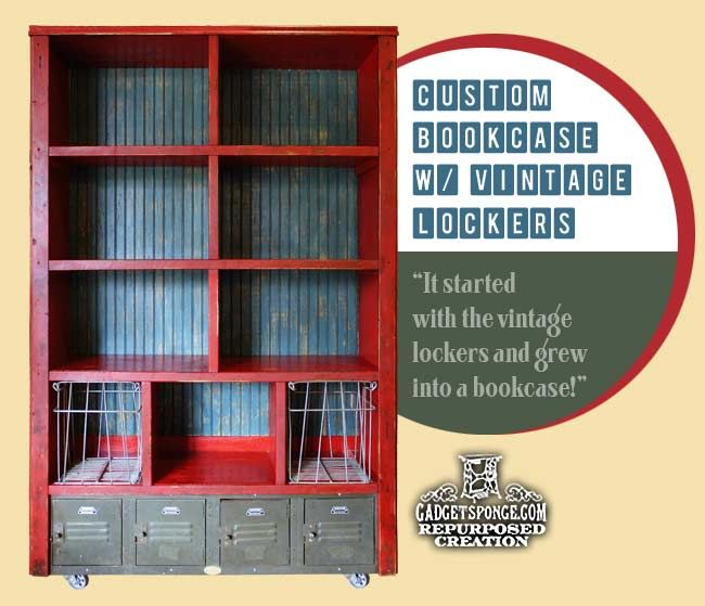 Custom Bookcase Bookshelf With Vintage Metal Lockers And Old Wire Baskets By Gadgetsponge