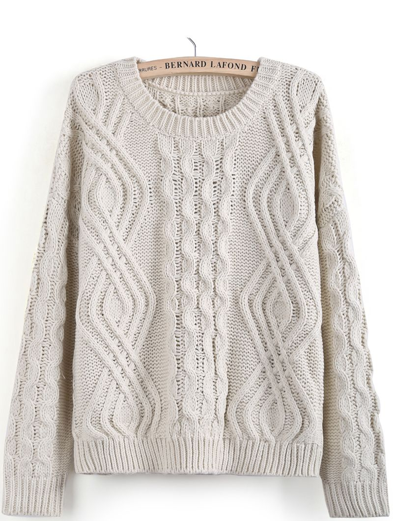 Apricot Long Sleeve Geo Pattern Cable Knit Sweater - Sheinside.com ...