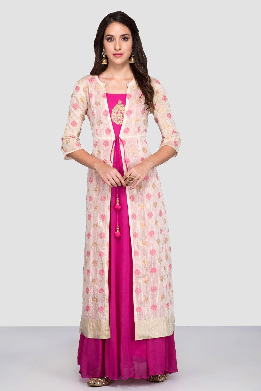 851edd3305 Flyrobe | India's largest fashion rental service Jacket Style Kurti, Kurti  With Jacket, Jacket