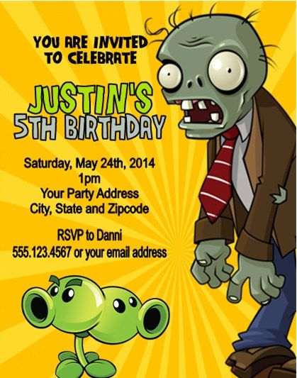 Personalized kids childrens birthday party invitation plants vs personalized kids childrens birthday party invitation plants vs zombies birthday party invitations by danniscutecreations stopboris Gallery