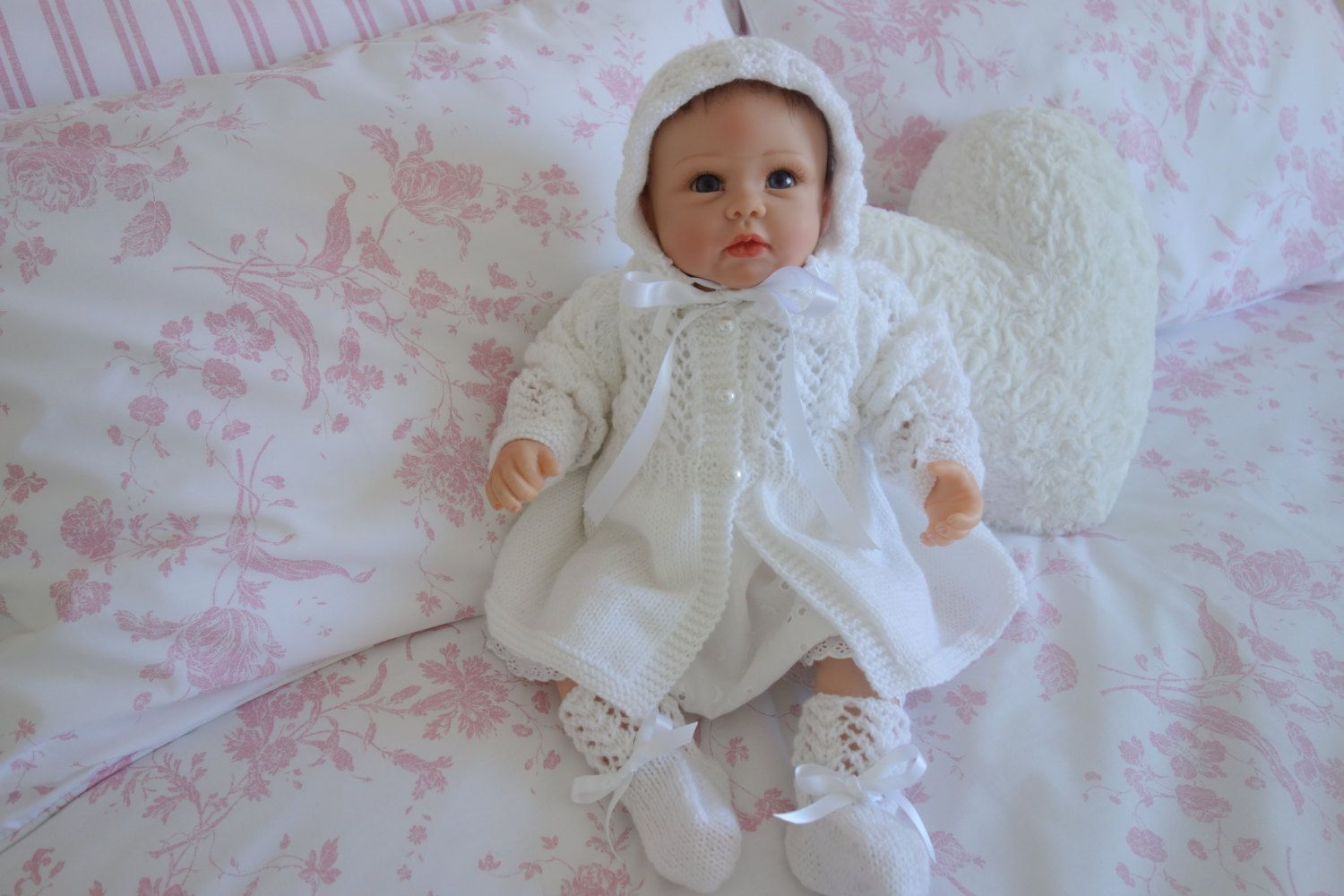 6f84d3f5672c A beautiful hand knitted pure white baby matinee coat