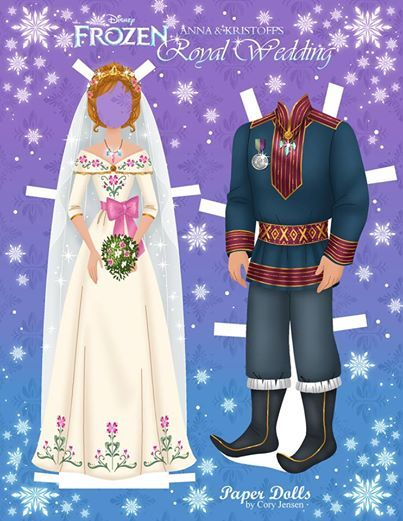 Anna Kristoff S Wedding Clothes Frozen Paper Dolls Paper Dolls Printable Paper Dolls
