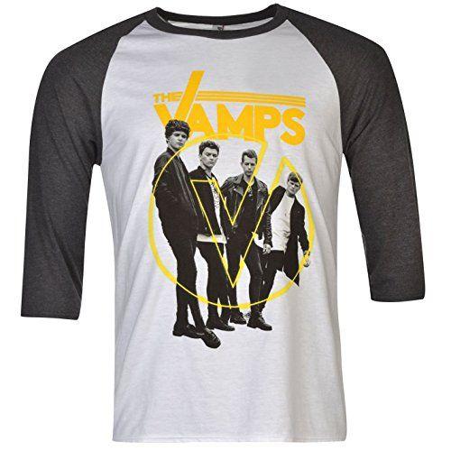 Official The Vamps Raglan T-Shirt Mens White/Charcoal Top Tee Shirt