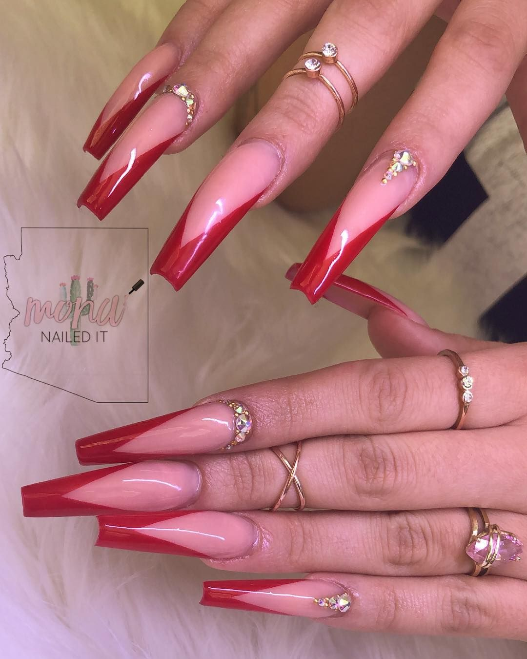Image May Contain One Or More People And Closeup Sculpted Nails Red Acrylic Nails Red Tip Nails