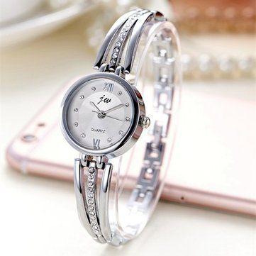 JW 3512 Fashion Round Dial Rhinestones Alloy Lady Bracelet Bangle Women Dress Quartz Watch at Banggood
