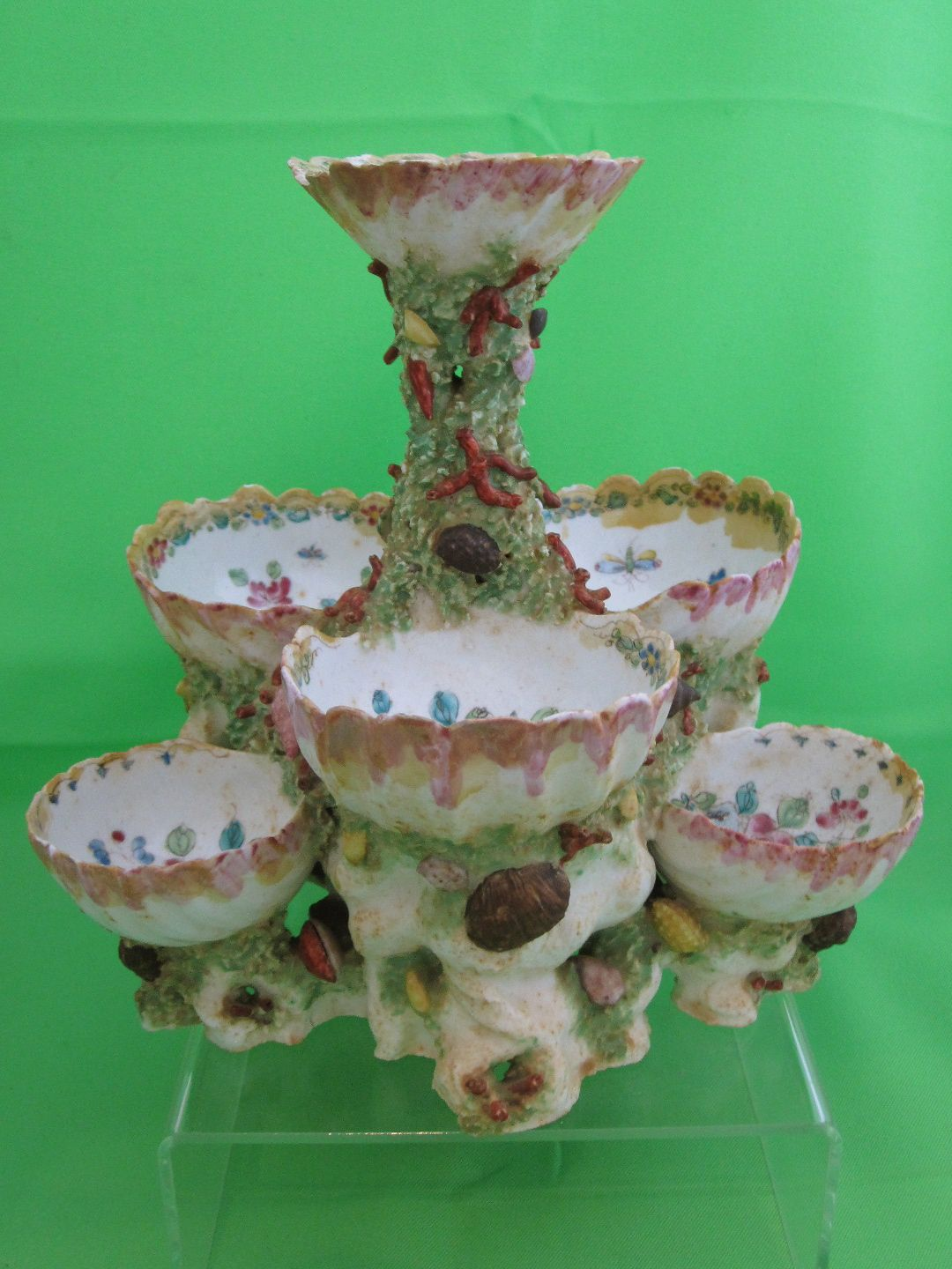 For your consideration, an extremely rare BOW Porcelain Shell & Coral Tiered Sweetmeat or Pickle Server. The Bow porcelain factory (active ca 1747-1764, closed 1776) was an emulative rival of the Chelsea porcelain factory in the manufacture of early soft-paste porcelain in Great Britain.