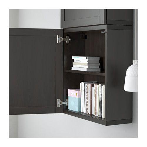 best l ment mural 2 portes hanviken brun noir ikea meuble salon pinterest salon. Black Bedroom Furniture Sets. Home Design Ideas