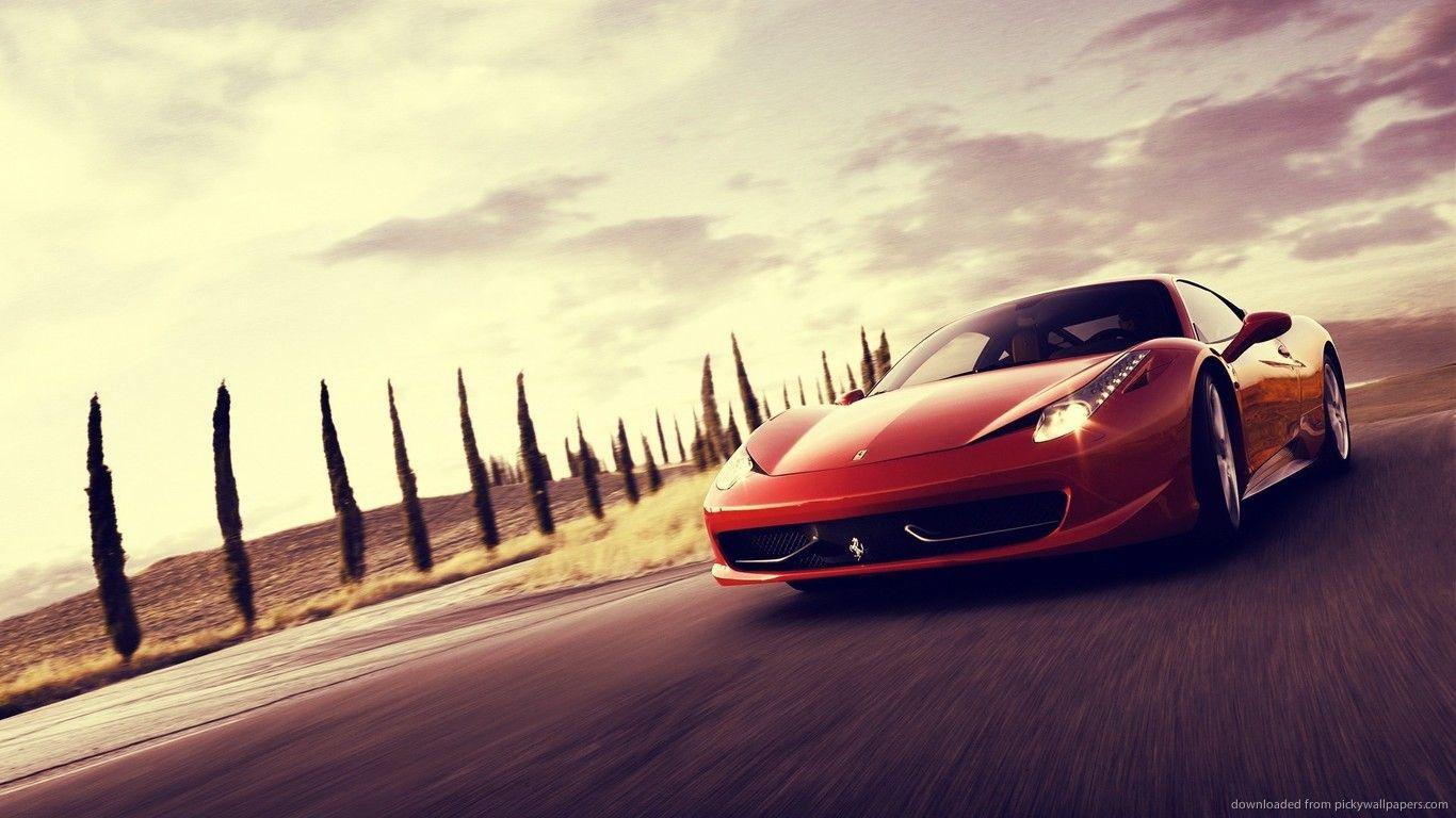 Cool Red Ferrari 458 Italia For 1366x768 Car Backgrounds Car