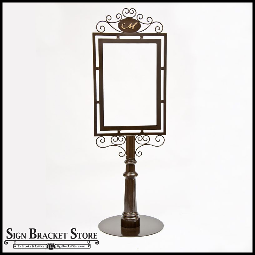 Outdoor Metal Sign Holders & Decorative Wrought Iron Sign Holder | Wrought  iron sign, Starburst light, Led lights