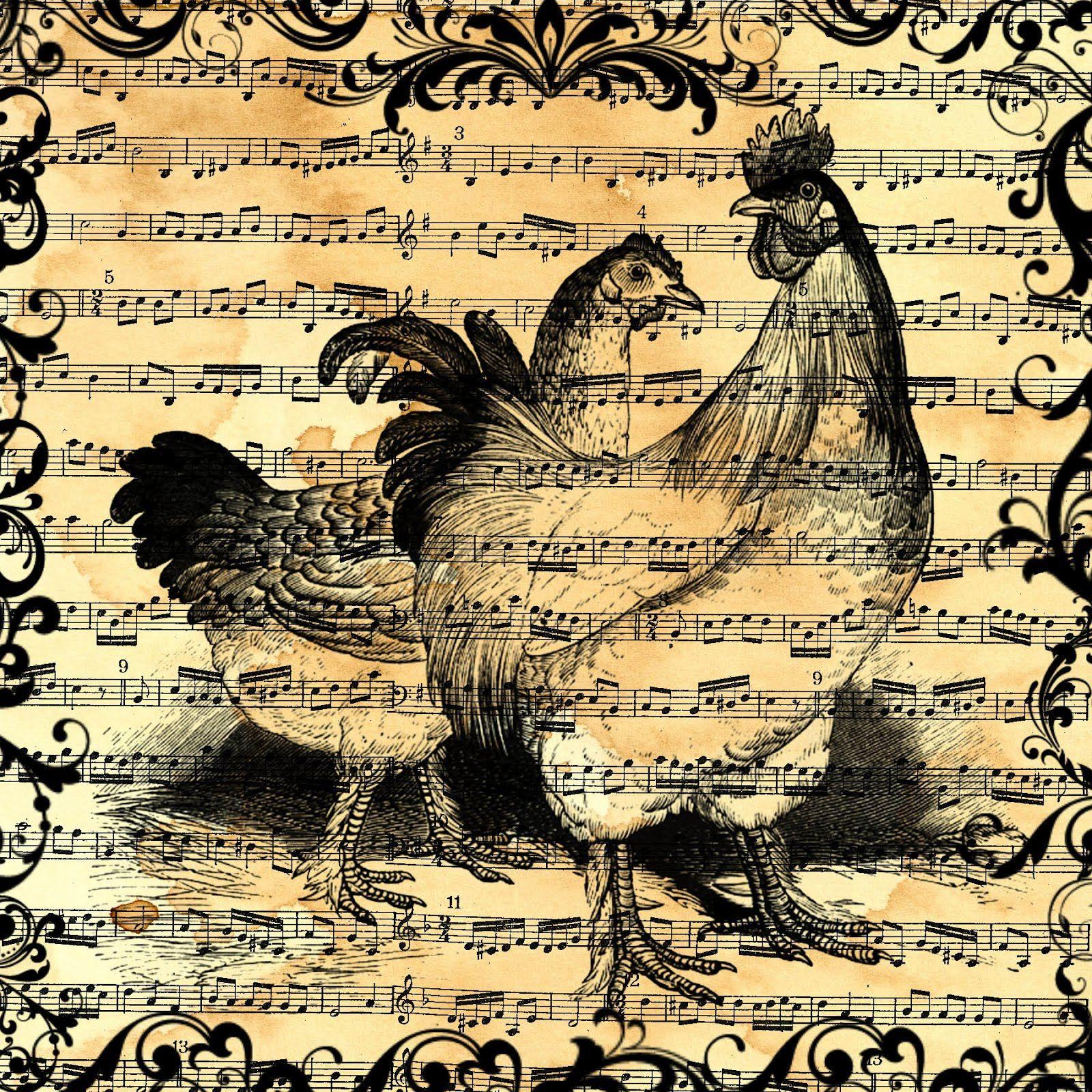 Grungy Sheet Music Chicken Collage