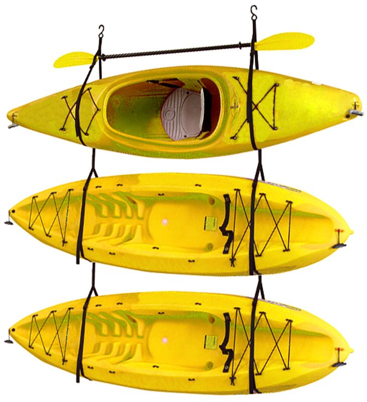 Gear Up Inc. Kayak / Canoe Storage And Portage Hang 3 Deluxe Strap Storage  System Wall Mounted Kayak Rack