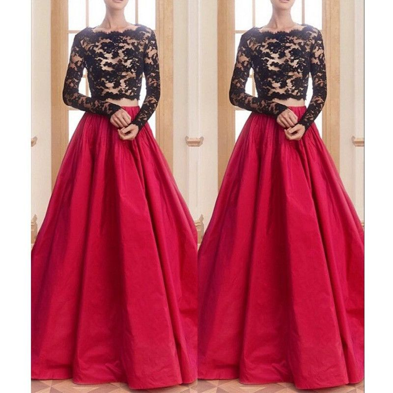 Custom Made V Neck Lace Top Plain Satin Elegant Long: Red Black Two Pieces Long Sleeves Lace Long Prom Dresses