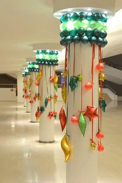 Decoracion Navidena Con Globos Masnvdad Pinterest Navidad - Como-decorar-columnas
