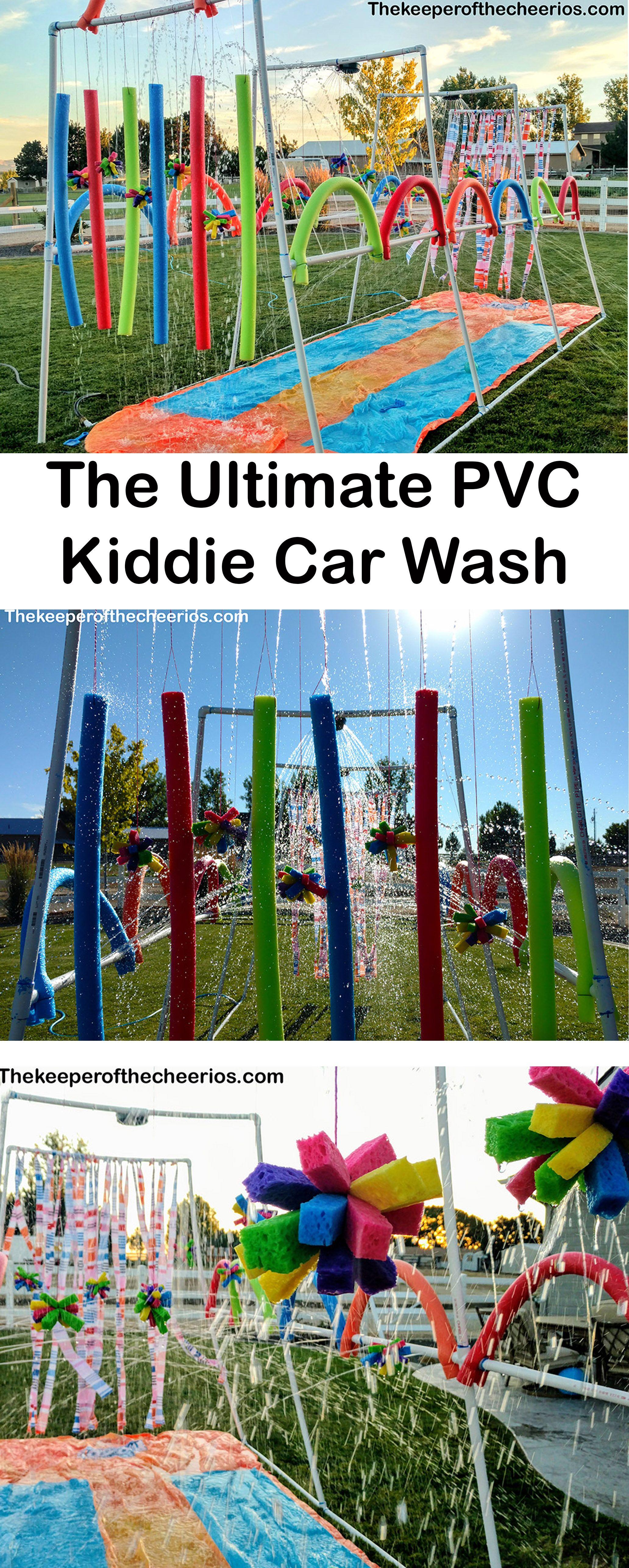 Pvc Kiddie Car Wash Slip N Slide Water Park The Keeper Of The Cheerios Backyard Water Games Kids Water Party Backyard Water Parks
