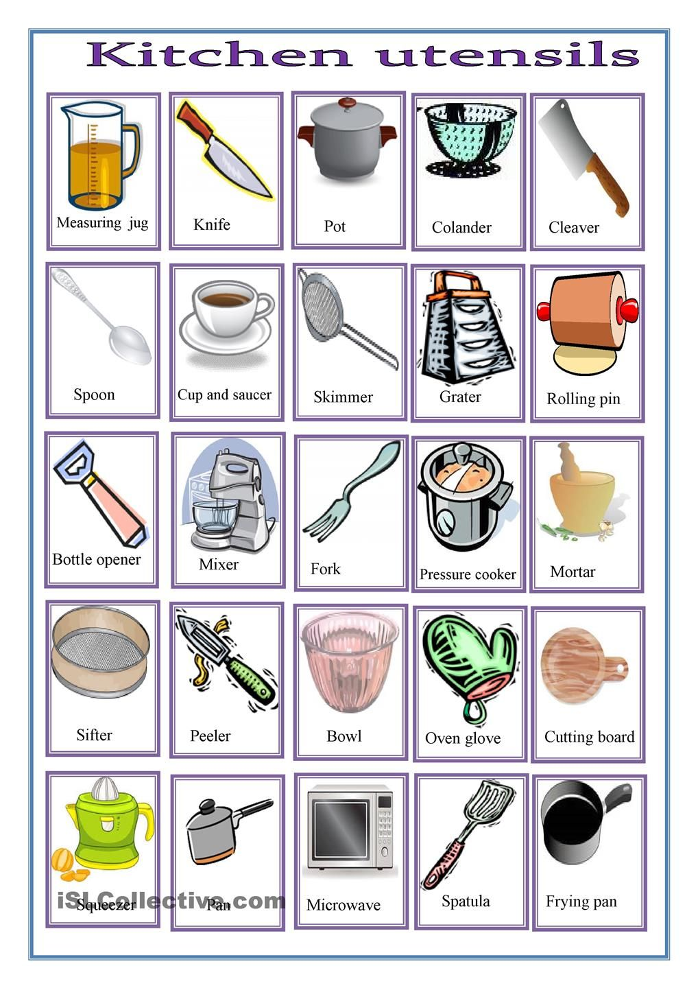 Kitchen worksheets free google search work pinterest for Kitchen set name in english