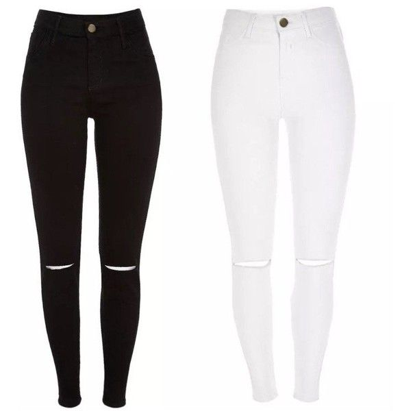 White ripped jeans polyvore