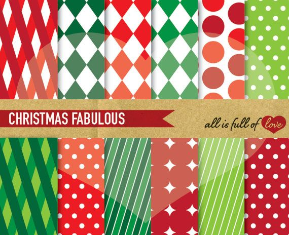 Christmas Paper Pack Xmas Background Pattern by AllFullOfLove