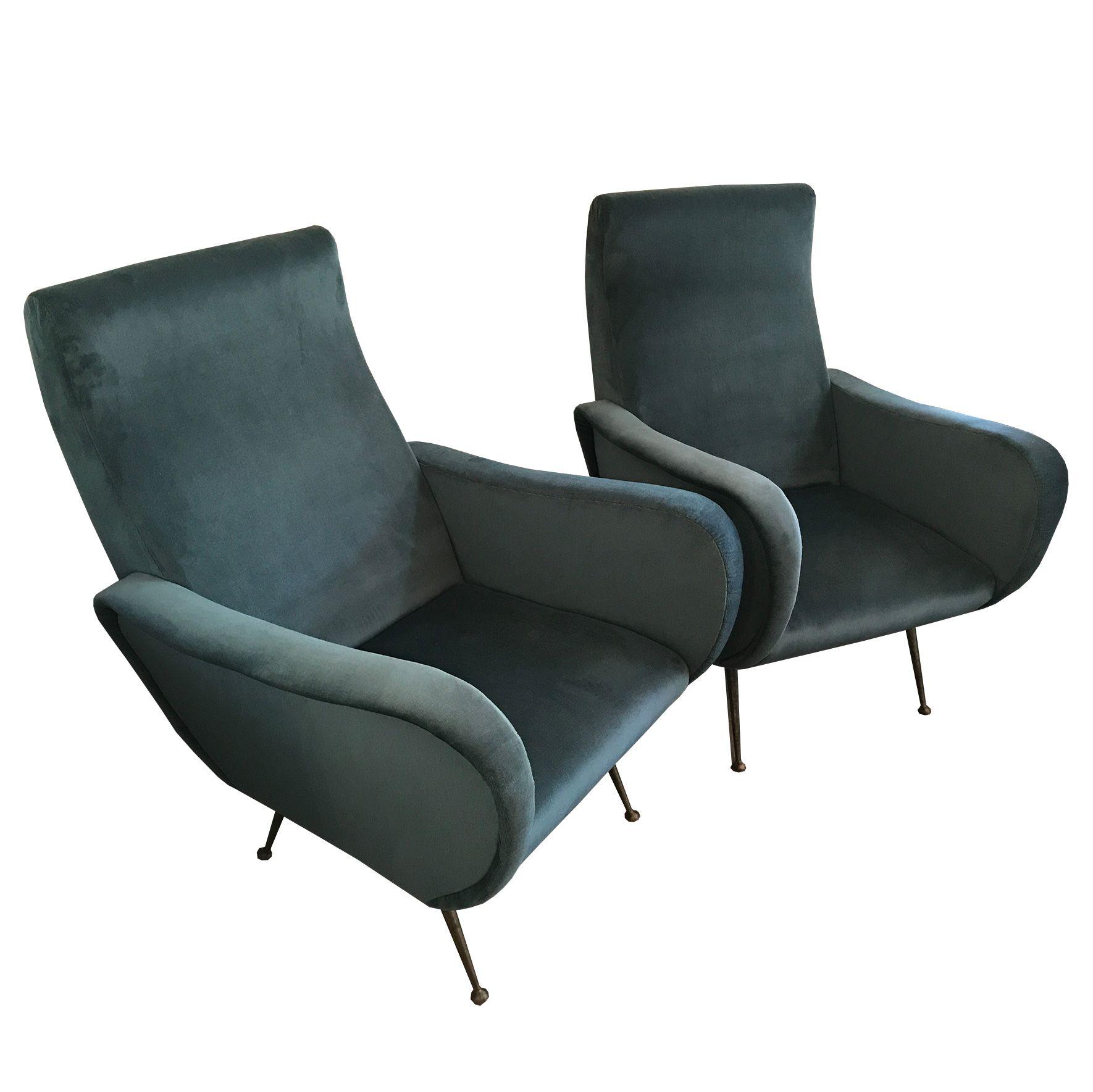 Fauteuil Italien GrisVente 1950 Bleu De En Design Velour Paire xdoBeC